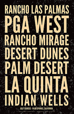 Palm Springs Golf Courses-distressed Poster