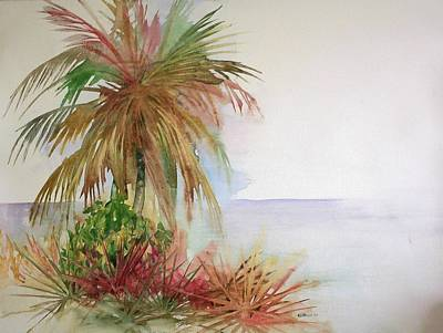 Palms On Beach II Poster by Richard Willows