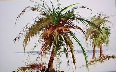 Palms On Beach Poster by Richard Willows
