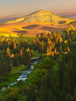 Palouse River And Steptoe Butte At Sunrise Poster