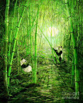 Pandas In Springtime Bamboo Poster by Laura Iverson