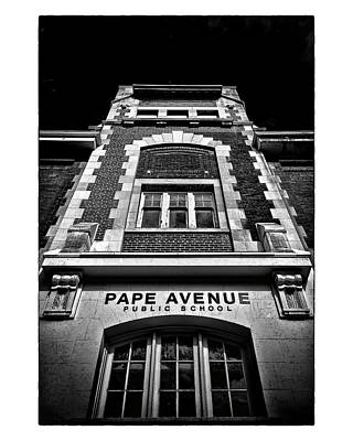 Poster featuring the photograph Pape Avenue Public School by Brian Carson