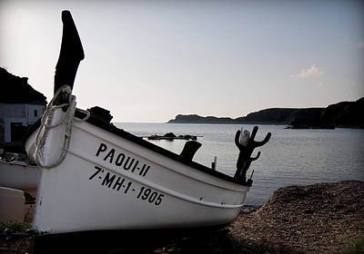 paqui my girl - A tradicional menorca fishing port with the typical fisher boat called llaut  Poster by Pedro Cardona