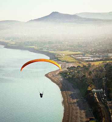 Paragliding Off Killiney Hill Poster by David Soanes Photography