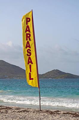 Parasail Beach Flag. Poster by Fernando Barozza