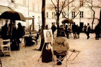 Paris Sepia Vintage Montmartre Artist District - Paris Montmartre Artists  Poster
