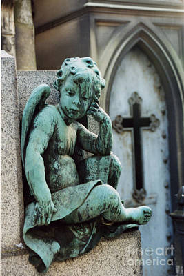 Paris Cemetery - Pere La Chaise - Cherub And Cross Poster by Kathy Fornal