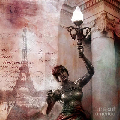 Paris Eiffel Tower Pink Surreal Fantasy Montage Poster by Kathy Fornal