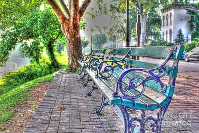 Park Bench On Riverside Drive Poster