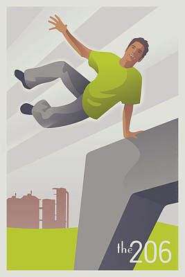 Parkour At Gasworks Park Seattle Poster by Mitch Frey