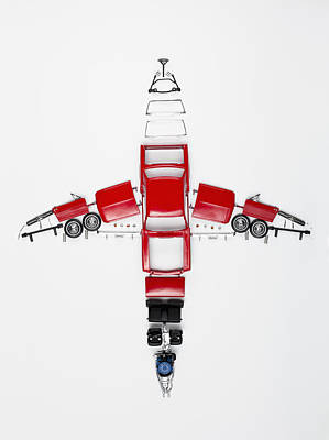 Parts Of A Model Car Arranged In The Form Of An Airplane Poster