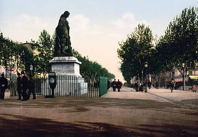 Paul Riquet Statue And The Allees In Beziers - France Poster