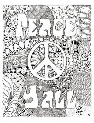 Peace Y'all Poster by Paula Dickerhoff