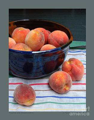 Poster featuring the photograph Peaches With Striped Cloth-ii by Patricia Overmoyer