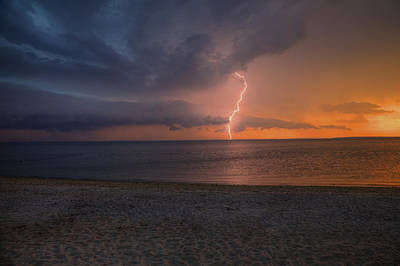 Peconic Bay Lightening Poster by Steve Gravano