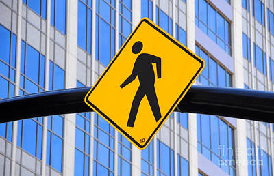 Pedestrian Crosswalk Sign In Business District Poster