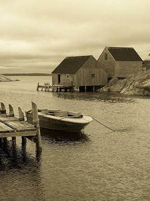 Peggys Cove In Sepia Poster by Richard Bryce and Family