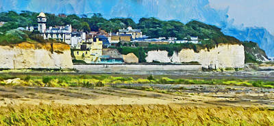 Poster featuring the digital art Pegwell Bay by Steve Taylor