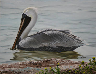Poster featuring the painting Pelican Swim by Jimmie Bartlett