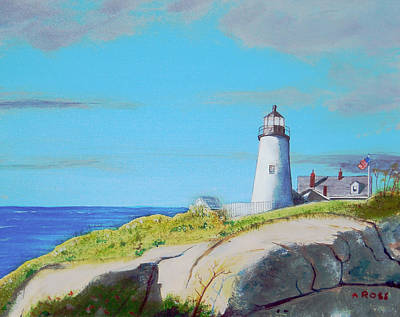 Poster featuring the painting Pemaquid Point Light by Anthony Ross