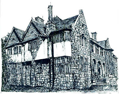 Pen And Ink Stone House  Poster