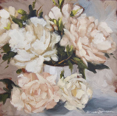 Peonies In White Vase Poster