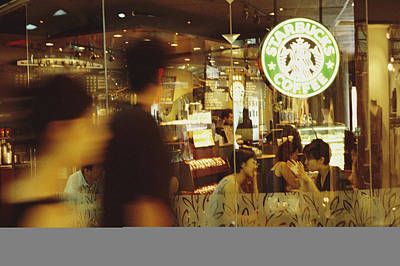 People At One Of The First Starbucks Poster