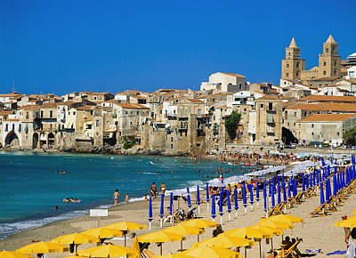 People On Cefalu Beach Poster by Axiom Photographic