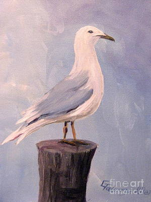 Poster featuring the painting Perched Seagull by Gretchen Allen