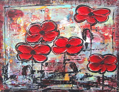 Poster featuring the painting Perfect Poppies by Kathy Sheeran