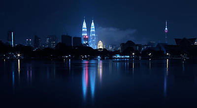 Petronas Towers Taken From Lake Titiwangsa In Kl Malaysia. Poster