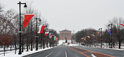Philadelphia Parkway In The Snow Poster by Bill Cannon