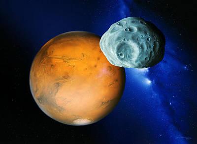 Phobos And Mars Poster by Detlev Van Ravenswaay