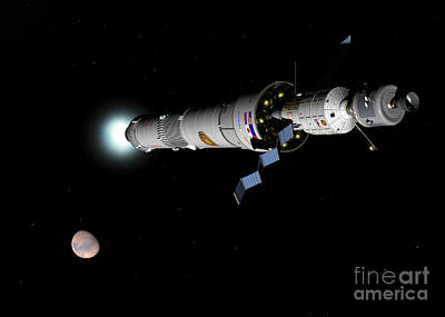 Phobos Mission Rocket Brakes For Mars Poster by Walter Myers