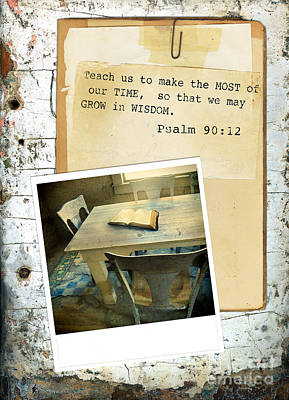 Photo Of Bible On Table With Scripture Verse Poster