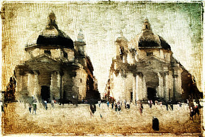 Poster featuring the digital art Piazza Del Popolo by Andrea Barbieri