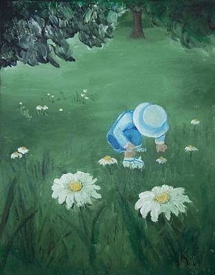 Poster featuring the painting Picking Flowers by Angela Stout