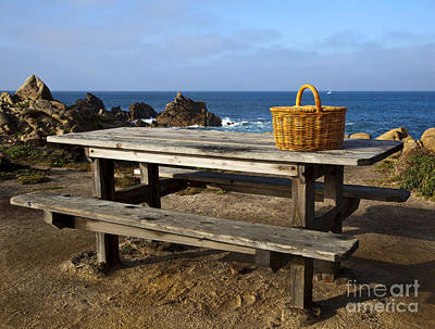 Picnic Basket On Wooden Picnic Table Poster by David Buffington