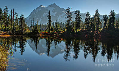 Poster featuring the photograph Picture Lake - Heather Meadows Landscape In Autumn Art Prints by Valerie Garner