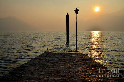 Pier And Sunset Poster by Mats Silvan