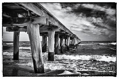 Pier To The Horizon - Black And White Poster by Hideaki Sakurai