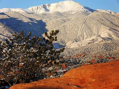 Poster featuring the photograph Pikes Peak Stunning Snow by Clarice  Lakota