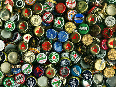Pile Of Beer Bottle Caps . 9 To 12 Proportion Poster by Wingsdomain Art and Photography