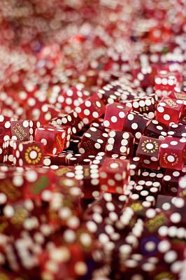 Pile Of Dice At A Casino, Las Vegas, Nevada Poster by Christian Thomas
