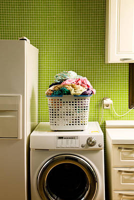 Pile Of Laundry On Washing Machine Poster by Jae Rew