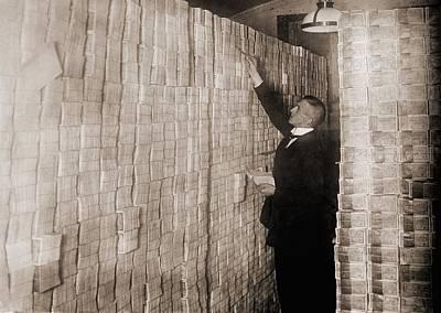 Piles Of German Money In A Berlin Bank Poster