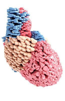 Pills Heart Poster by MedicalRF.com