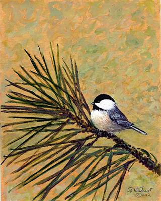Poster featuring the painting Pine Branch Chickadee Bird 2 by Kathleen McDermott