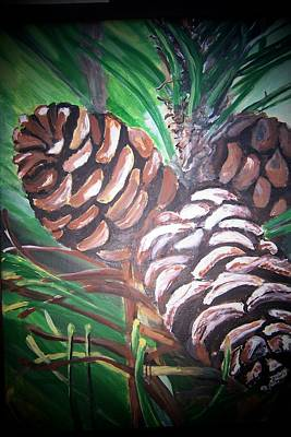 Poster featuring the painting Pine Cones by Krista Ouellette