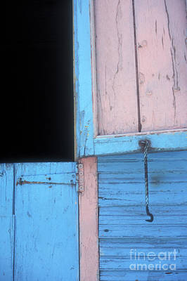 Poster featuring the photograph Pink And Blue Shutters Barahona Dominican Republic by John  Mitchell